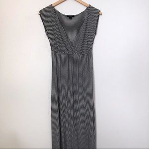 Espresso Grey and white striped maxi dress size S